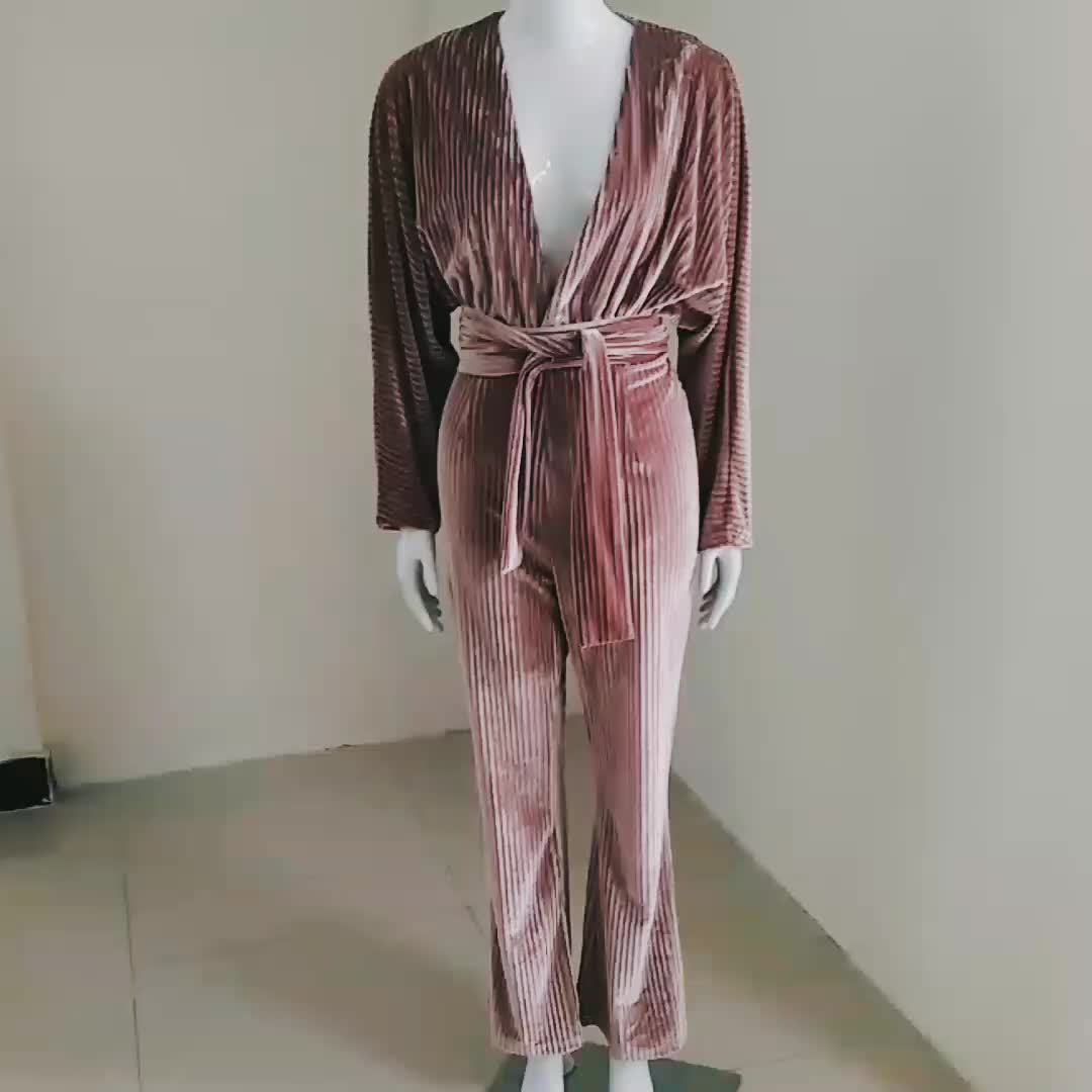 A2701 OEM Velvet 2020 high quality deep V neck with belt celebrity women long sleeve luxury  sexy  pleated long loose  jumpsuit