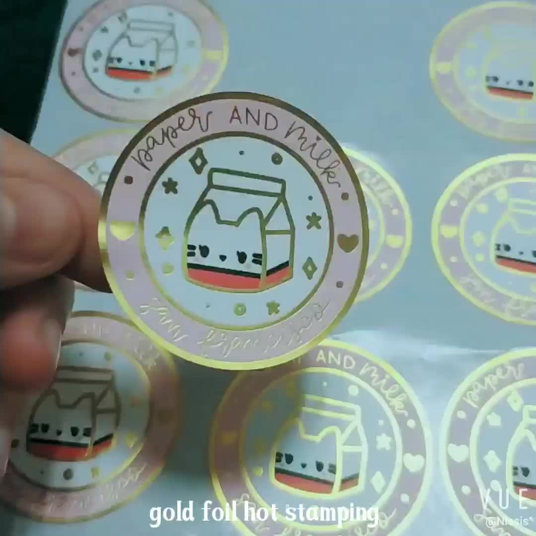 Printing Circle  PE Gold Foil Stickers Personalized Logo Labels Adhesive Bottle Gold Foil Hot Stamping
