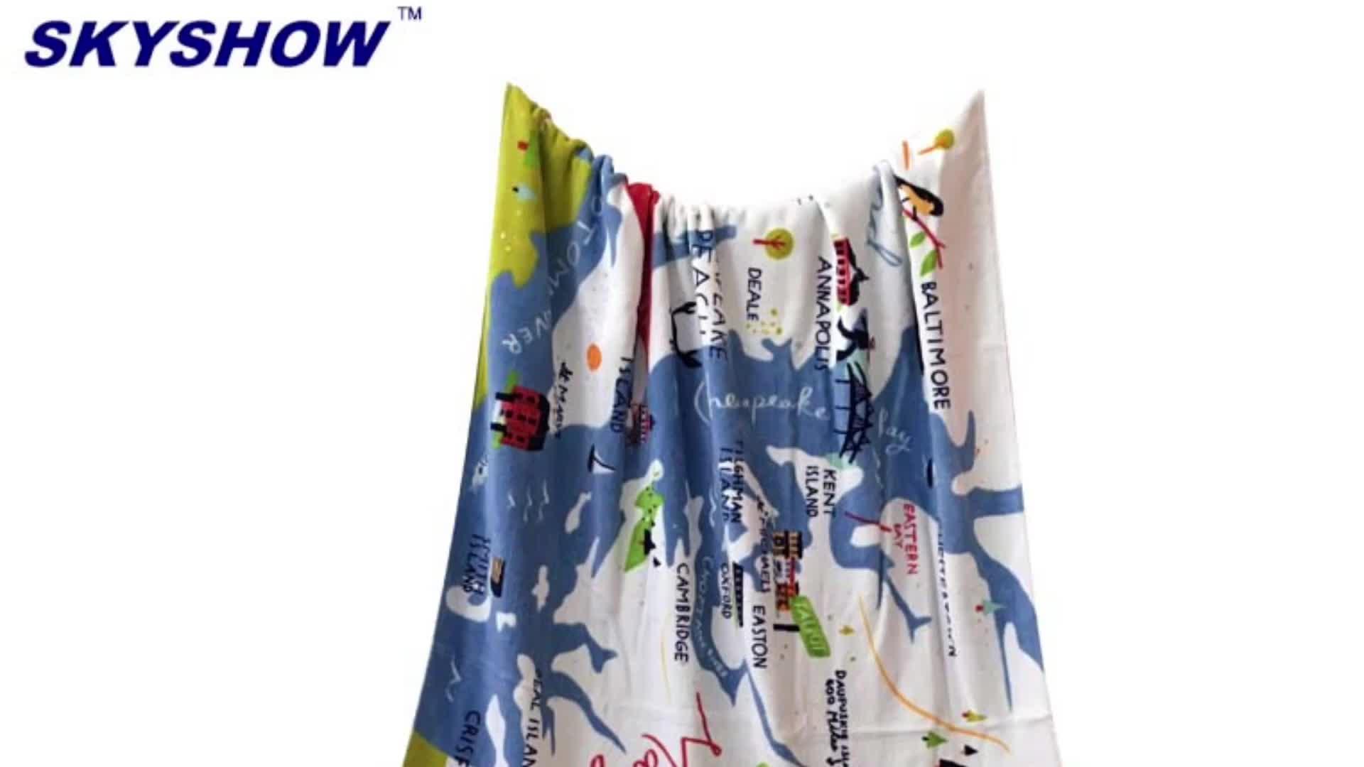Custom High Quality Printing Cotton Velour Beach Towels