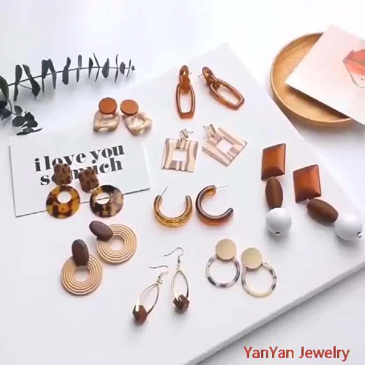 아마존 최고의 기하학적 유행 아크릴 귀걸이 간단한 한국어 보석 귀걸이 세라믹