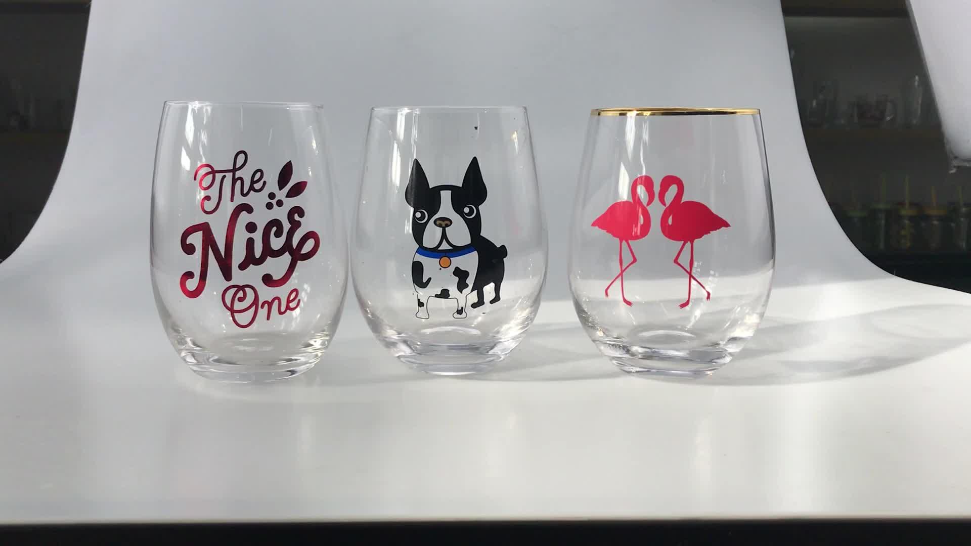 Logo Personalizzato Stemless Bicchieri di Vino Rosso Tazza di Whisky Tazza di Vetro 500 Ml