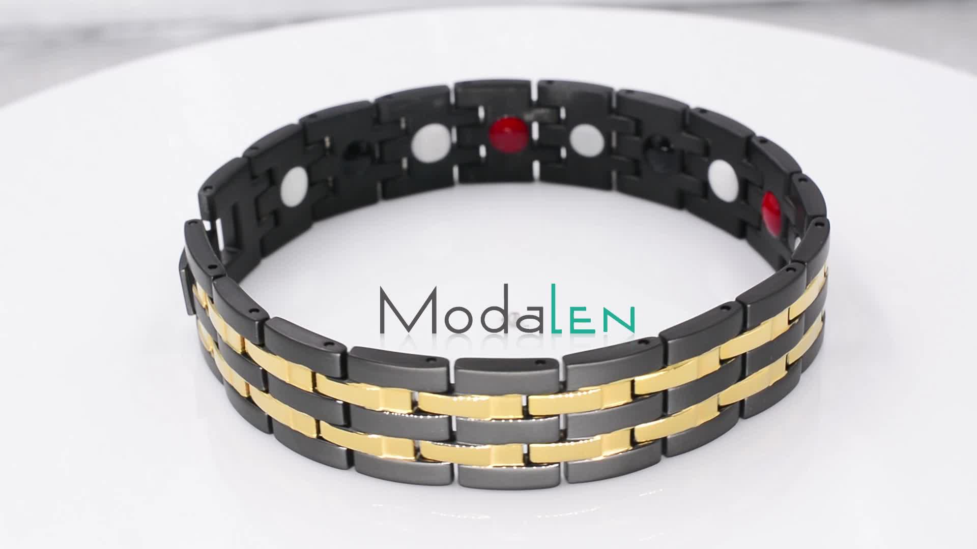 Modalen wholesale fashion jewelry custom magnetic bracelet men stainless steel bracelet for men