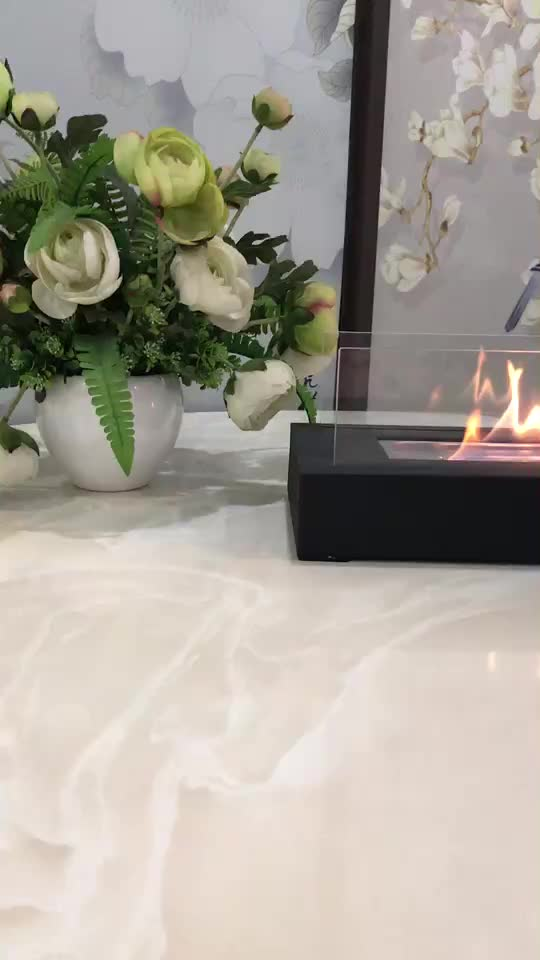 Gon sale glass table accessories mini fireplace 2 side back to back hangzhou manufacture