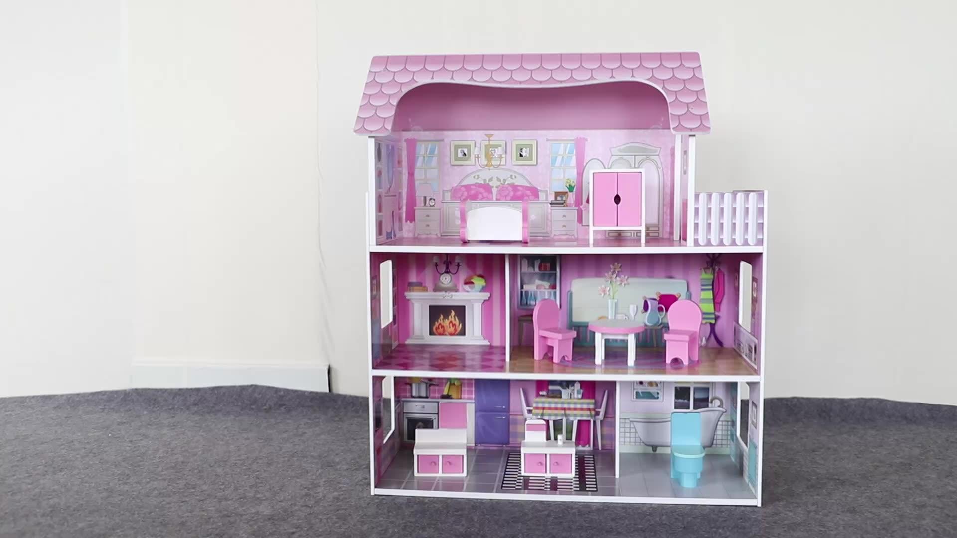 الجملة سهلة التجمع الفتيات اليدوية لتقوم بها بنفسك مصغرة الخشب أثاث خشبي مجموعات اللعب دمية عدة بيت الدمية للأطفال