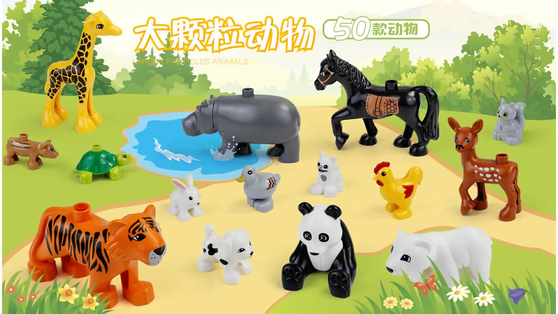 50 pcs/set Diy Kebun Binatang Hewan Seri Blok Bangunan Partikel Besar Penguin/Fox Anak Hadiah Bayi Mainan Kompatibel dengan Duplo