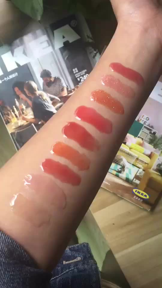 Vmae Wholesale 9 Colors Long Lasting Waterproof Clear Glitter Nude Plumping LipGloss with Private Label Squeeze Tube Lipgloss