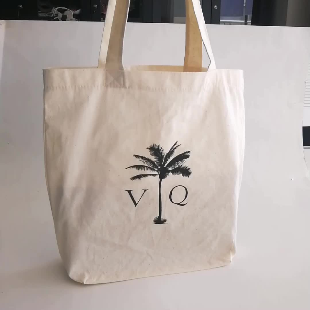 Reusable  promotional  eco white  fabric material  gift  bag advertising shopping reusable cotton bag cotton with custom logo