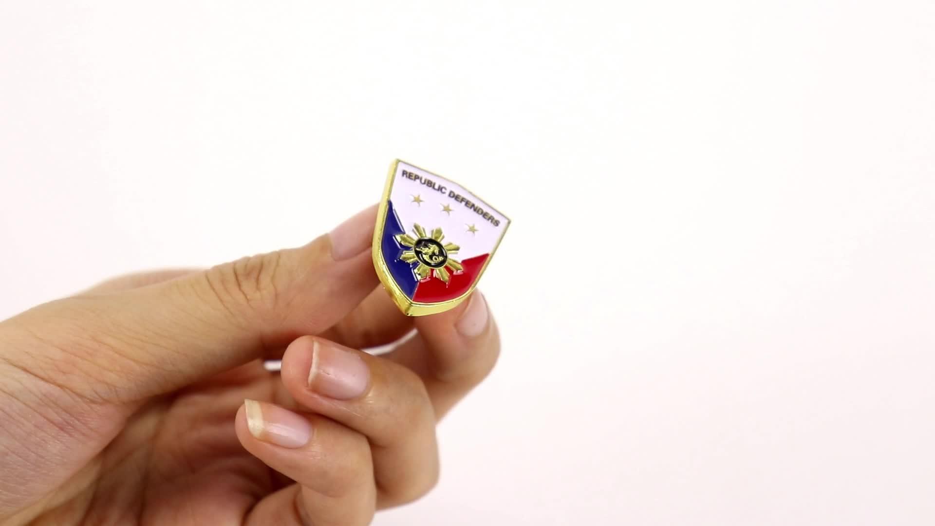 Magnética transparente de esmalte de metal logotipo personalizado pin de solapa