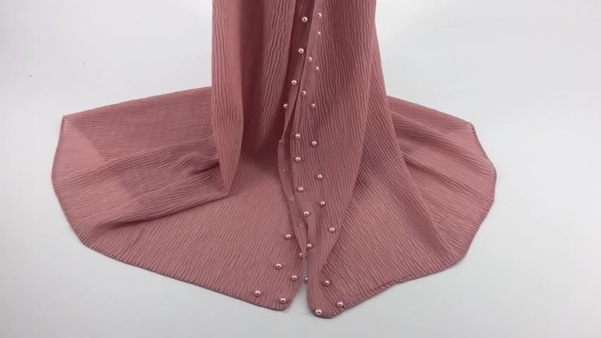 Hot selling Chiffon  crinkle bead scarf high quality boutique scarf Muslim women fashion shawls