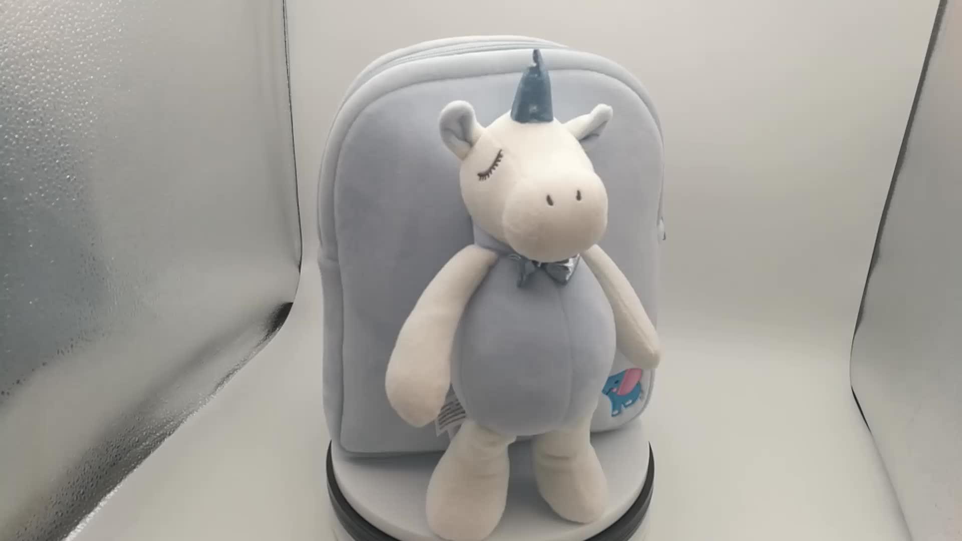 Cute blue plush kids animal backpack plush unicorn backpack