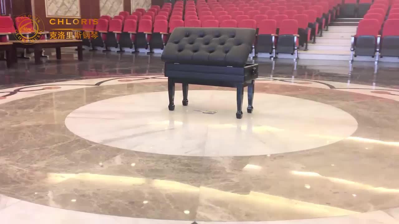 Banco do piano de cristal de acrílico com almofada do assento de couro