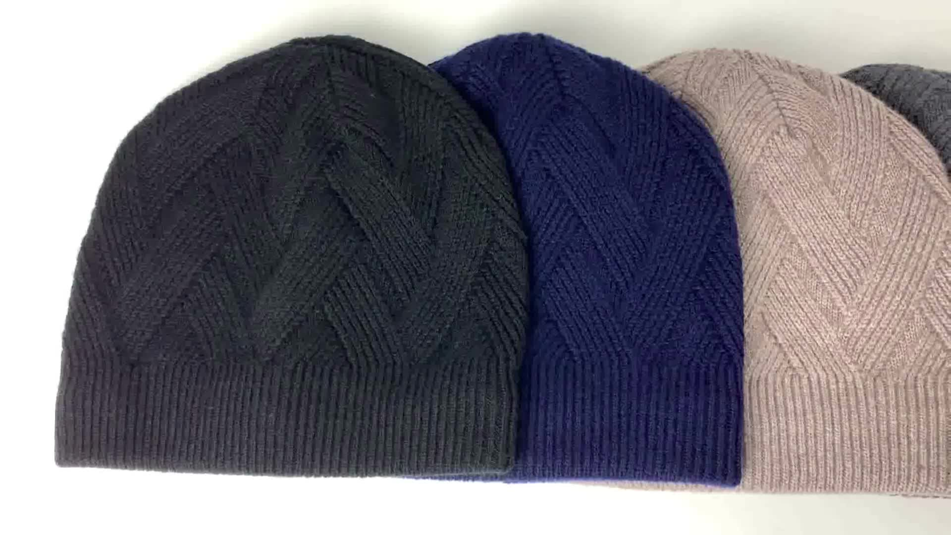 New style in Europe pure wool thick warm knit hat cap for men