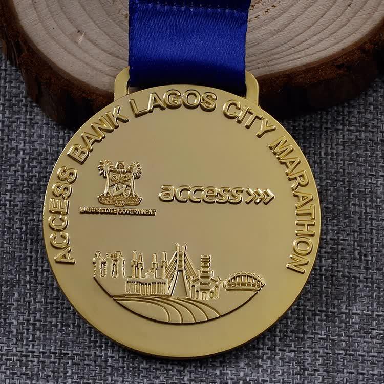 Wholesale zinc alloy metal emboss matte gold marathon medals