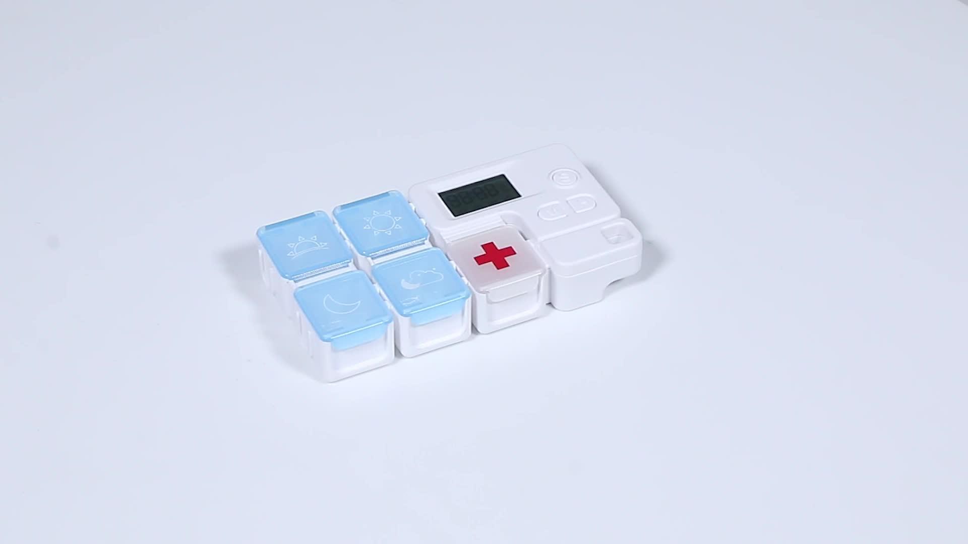 TE02B Tetris 4 Keer Een Dag Pillendoos Houder Automatische Teller 5 Case Afneembare Plastic Compartiment Met Pil Herinnering Klok