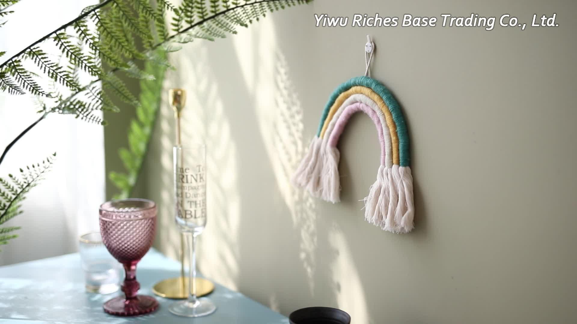 Nuevo lanzamiento macrame arte casa decoración de cuerda de algodón hecho a mano colorido colgante de pared