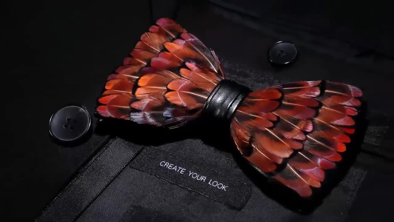 Wholesale hand made bird feather bow tie with bow tie boxes