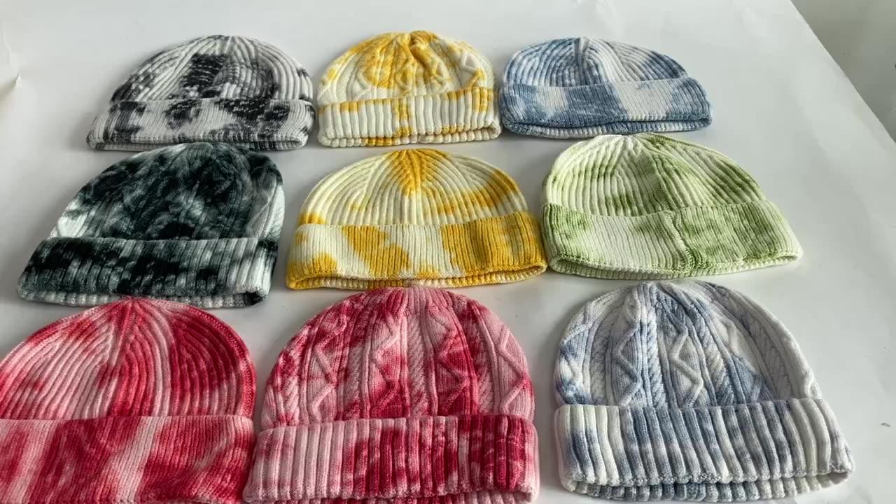 Caldo pazzesco In Magazzino Colorato Hip Hop degli uomini di Cappelli del Beanie Del Polsino del Commercio All'ingrosso Tye Dye Cappelli di Maglia