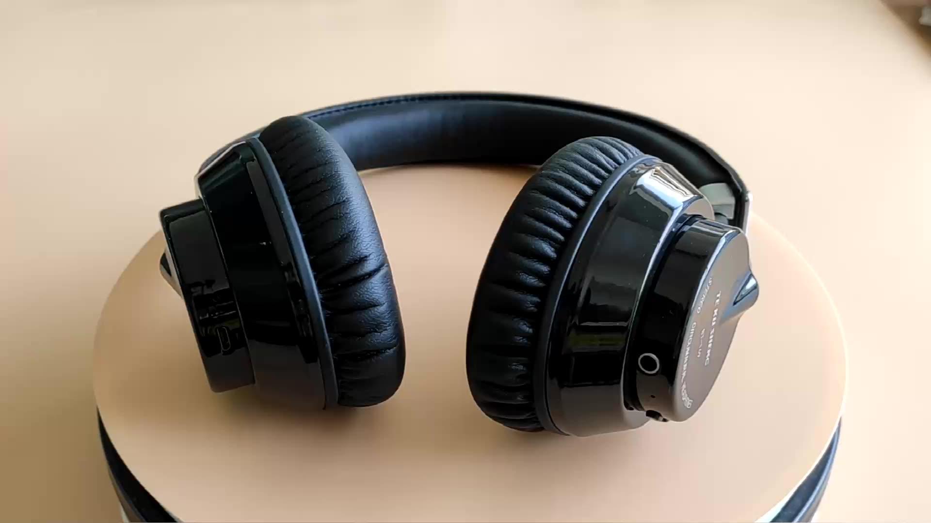 Casque d'écouteurs stéréo en cuir PU | Casque sans fil en métal, casque de vente bt