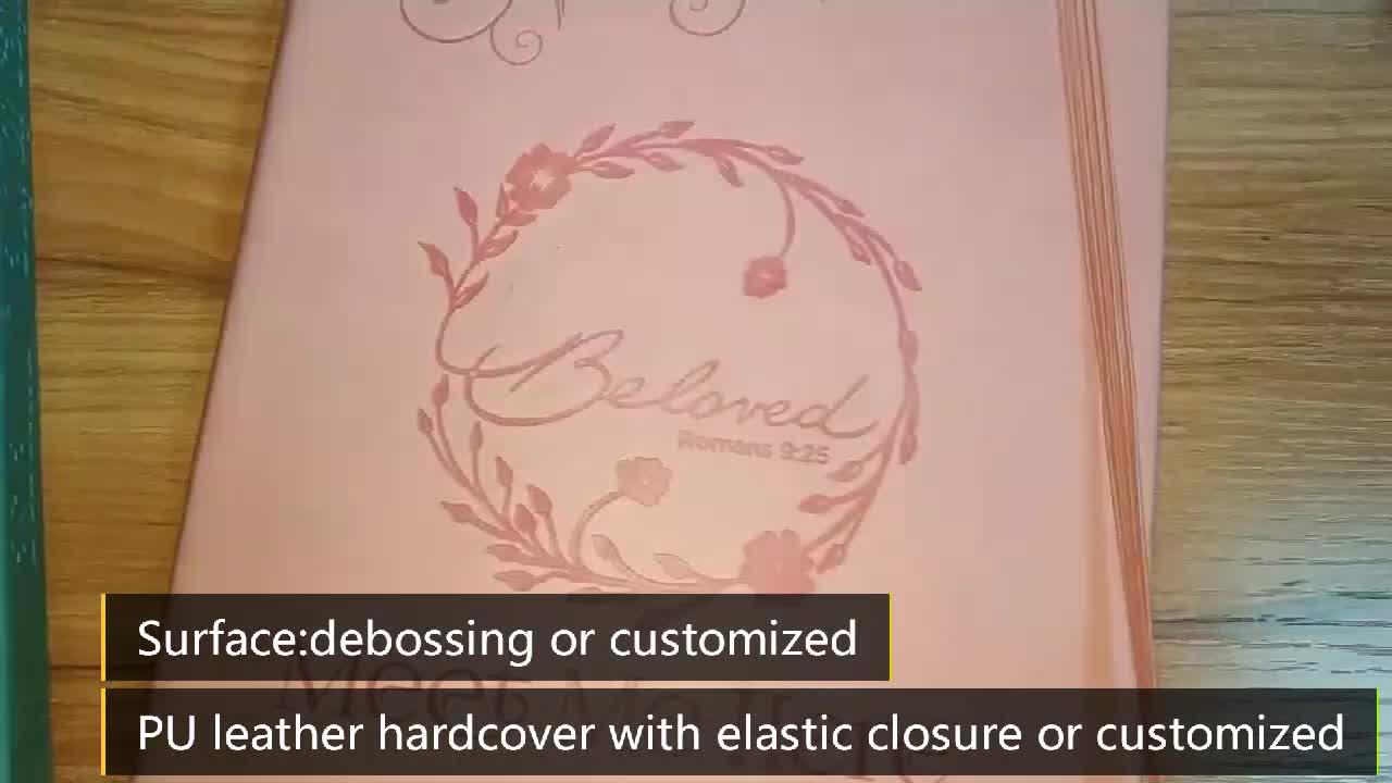 Classique pas cher couverture en cuir souple impression de livre relié avec ruban