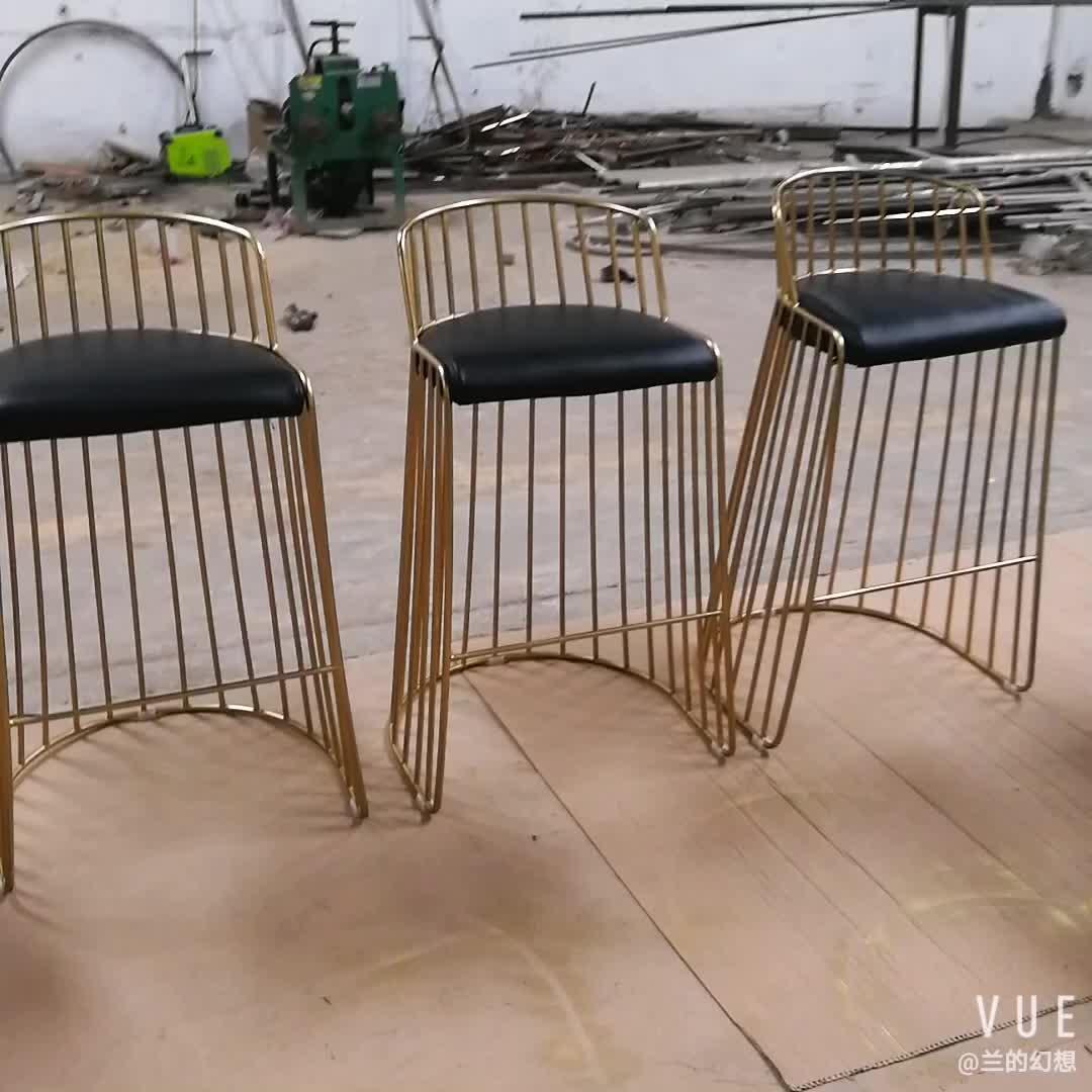 Cadeira de balcão de balcão de barras de metal para noivas cor-de-rosa