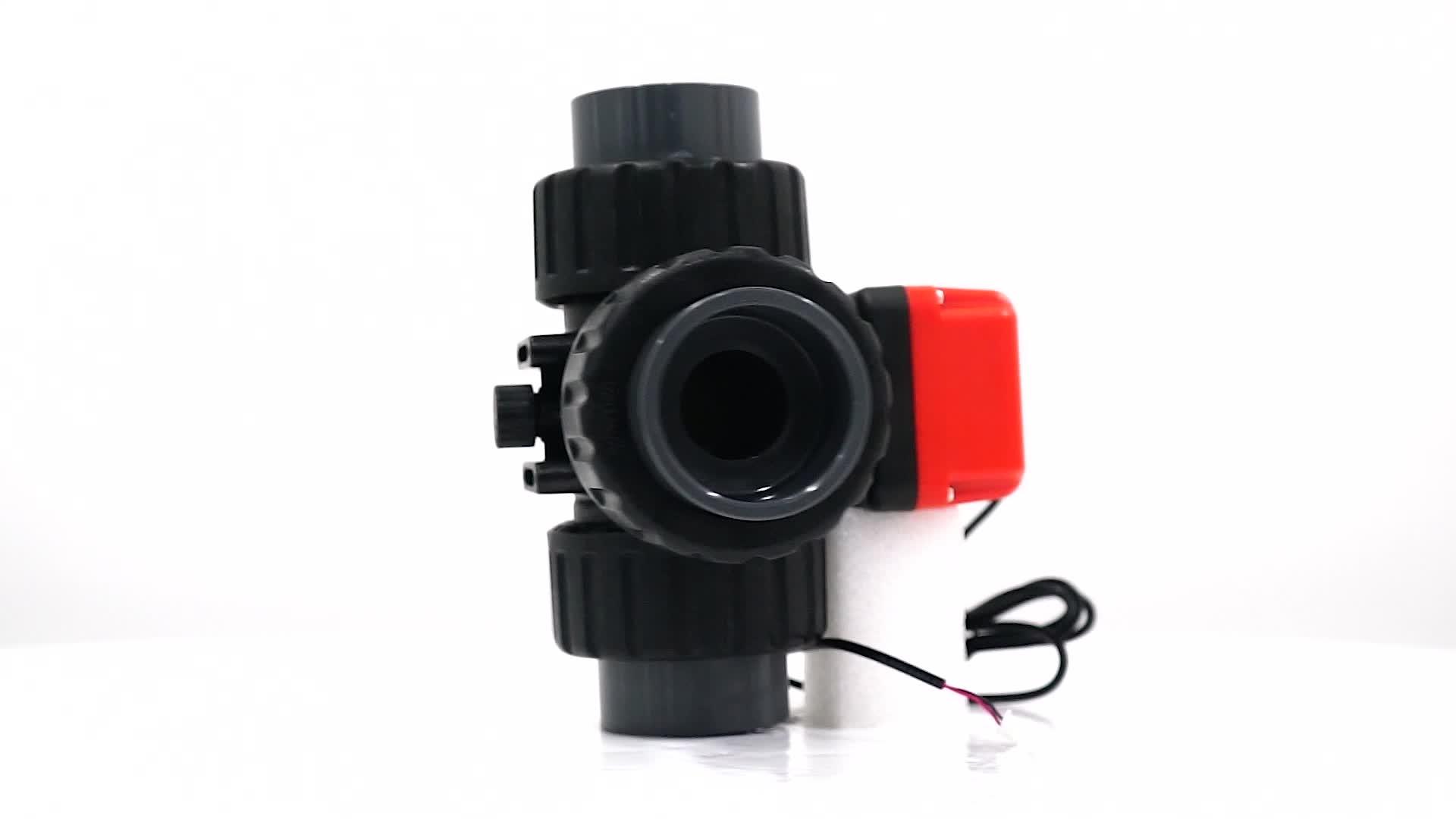"Seramik topu DN50 G2 ""AC220V 3 yollu plastik topu elektrikli aktüatörler otomatik işletilen 3 yollu hidrolik valf su sistemi"