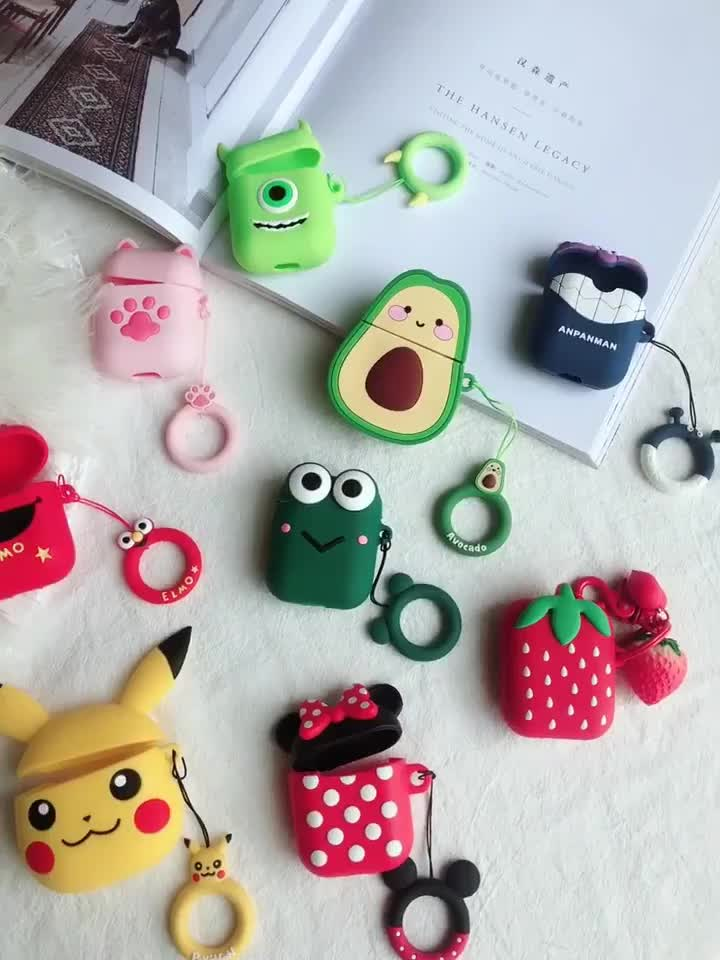 Fashion  Cute Funny Custom Animals 3D Cartoon Protective Silicone Case Cover for Apple Air pods AirPods 1 2