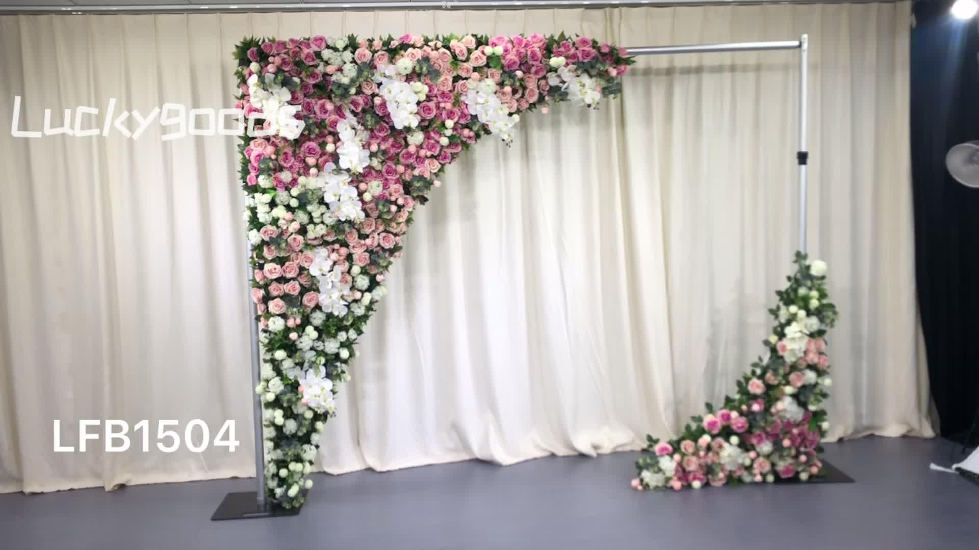 LFB1504 custom made artificial wedding triangle rose backdrop flower arrangement