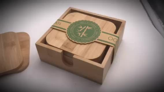 6pcs/set personalised custom square Eco-friendly bamboo coaster 100% natural wooden drink coffee cup coasters