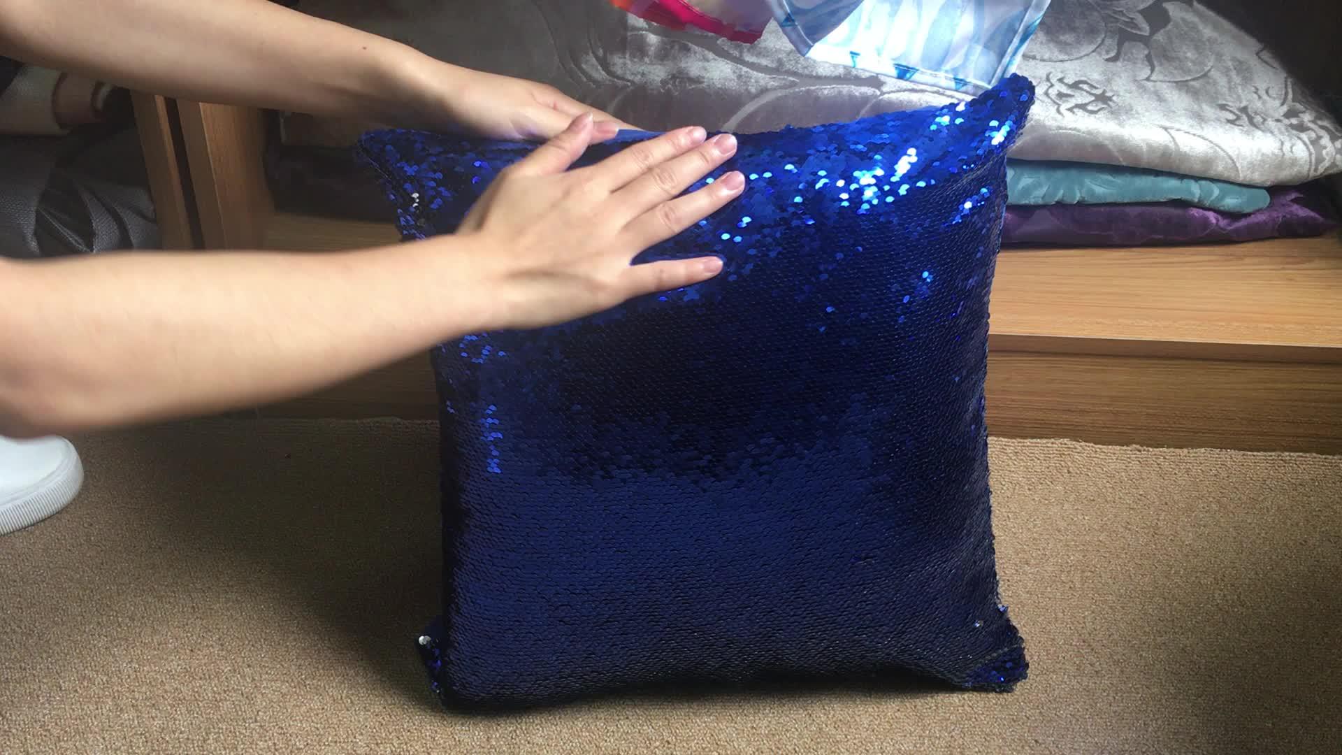 Impressão Por Sublimação de Tecido lantejoulas 100% da Camurça do Poliéster/Tecido de Cetim Sereia Mágica caso Paetês Travesseiro