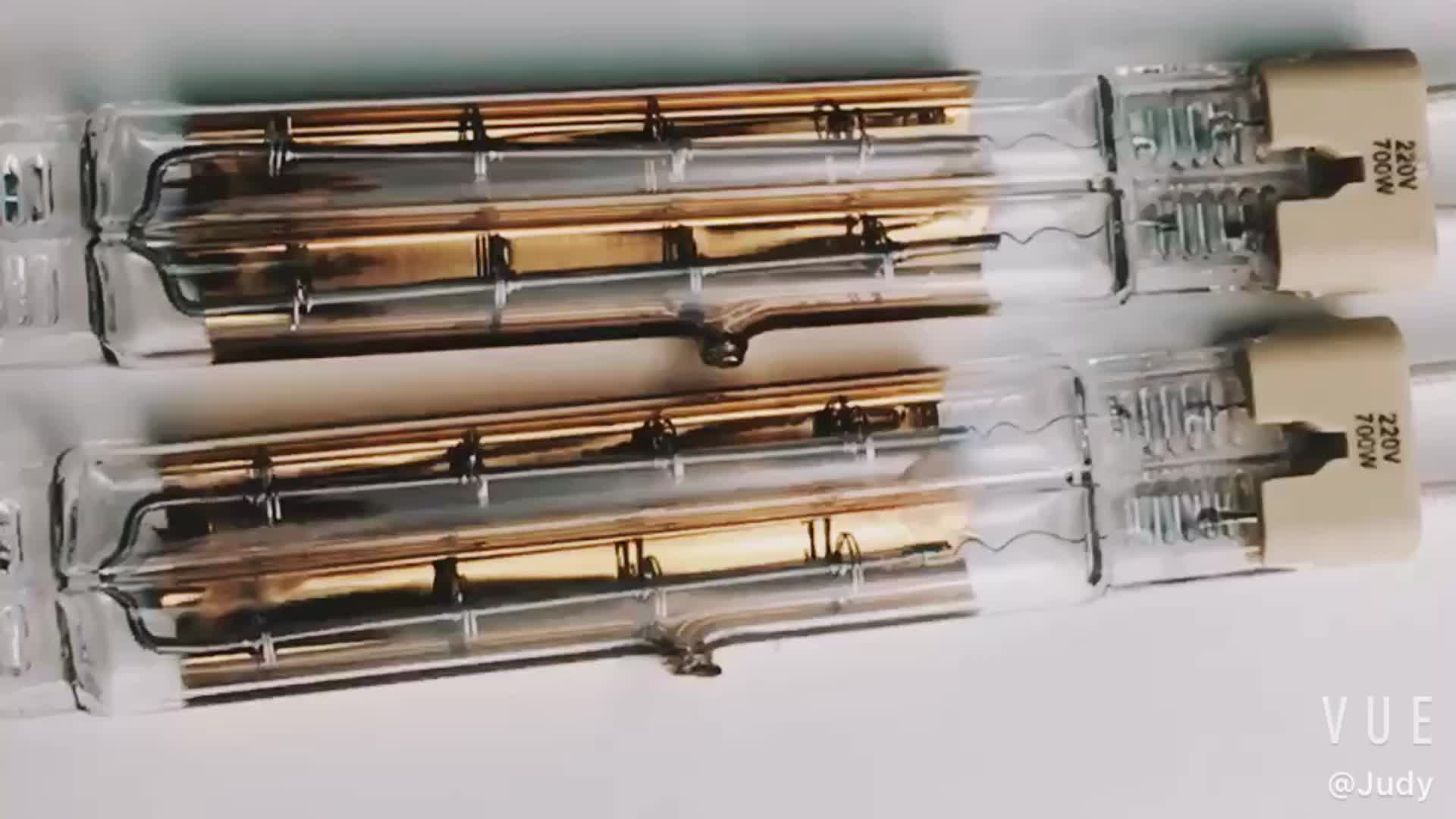 Twin Tubes Half Gold Coating Infrared Halogen Heating Lamp