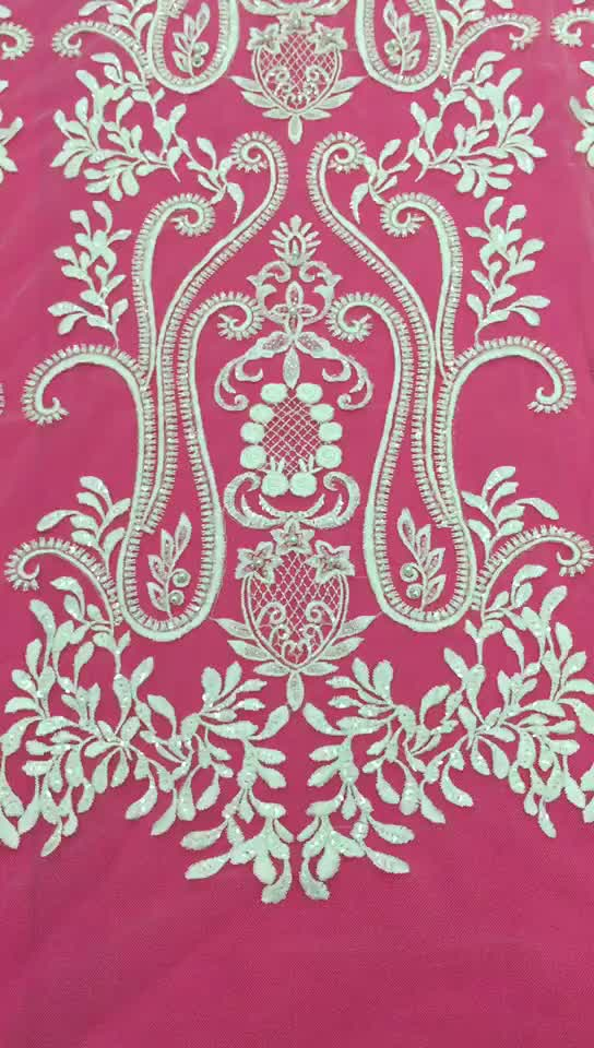 New design sofe and smooth mesh 3d lace fabric bead lace fabric sequin white lace fabric