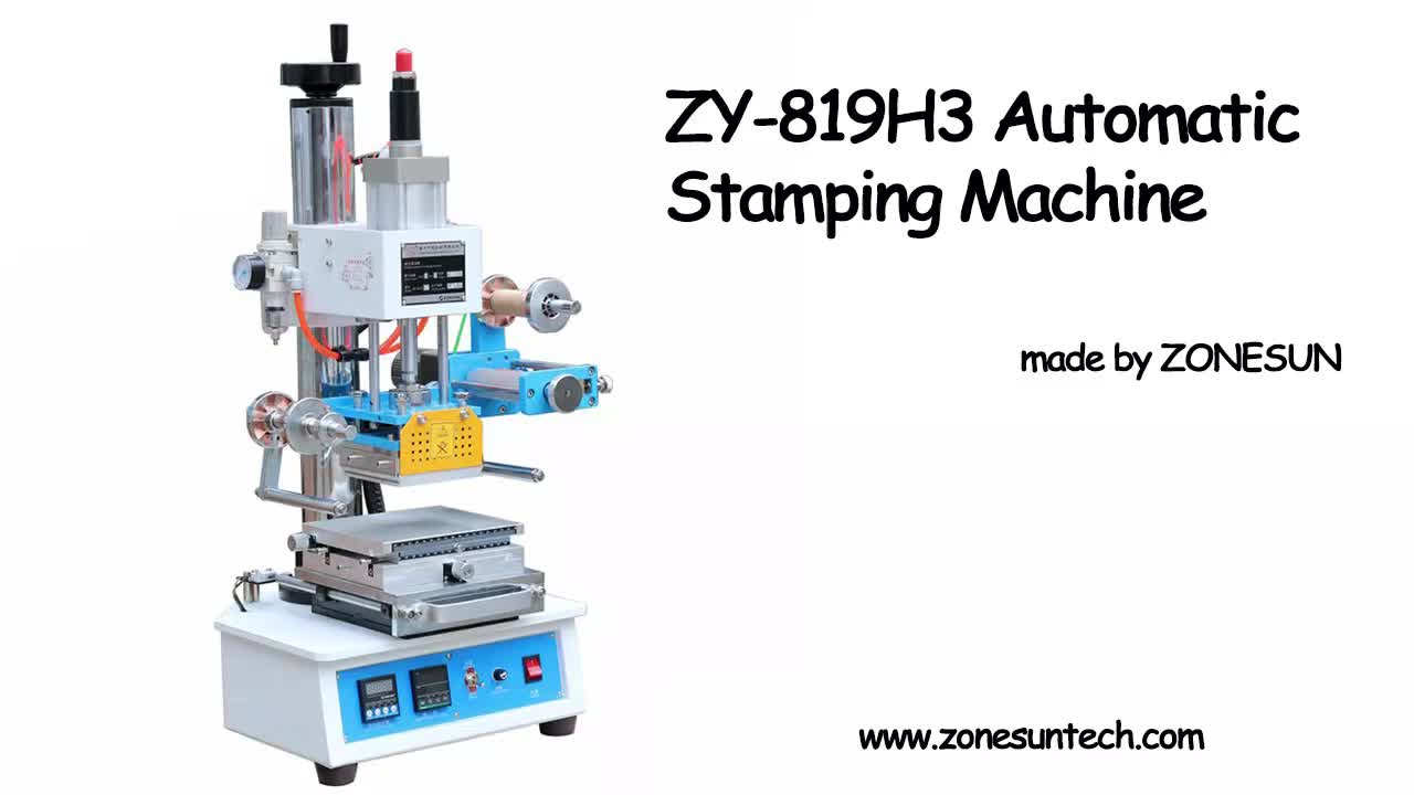 ZONESUN Sem Automatic Pneumatic Hot Foil Logo Leather Wood Plastic Card Paper Napkin Stamping Embossing Printing Machine