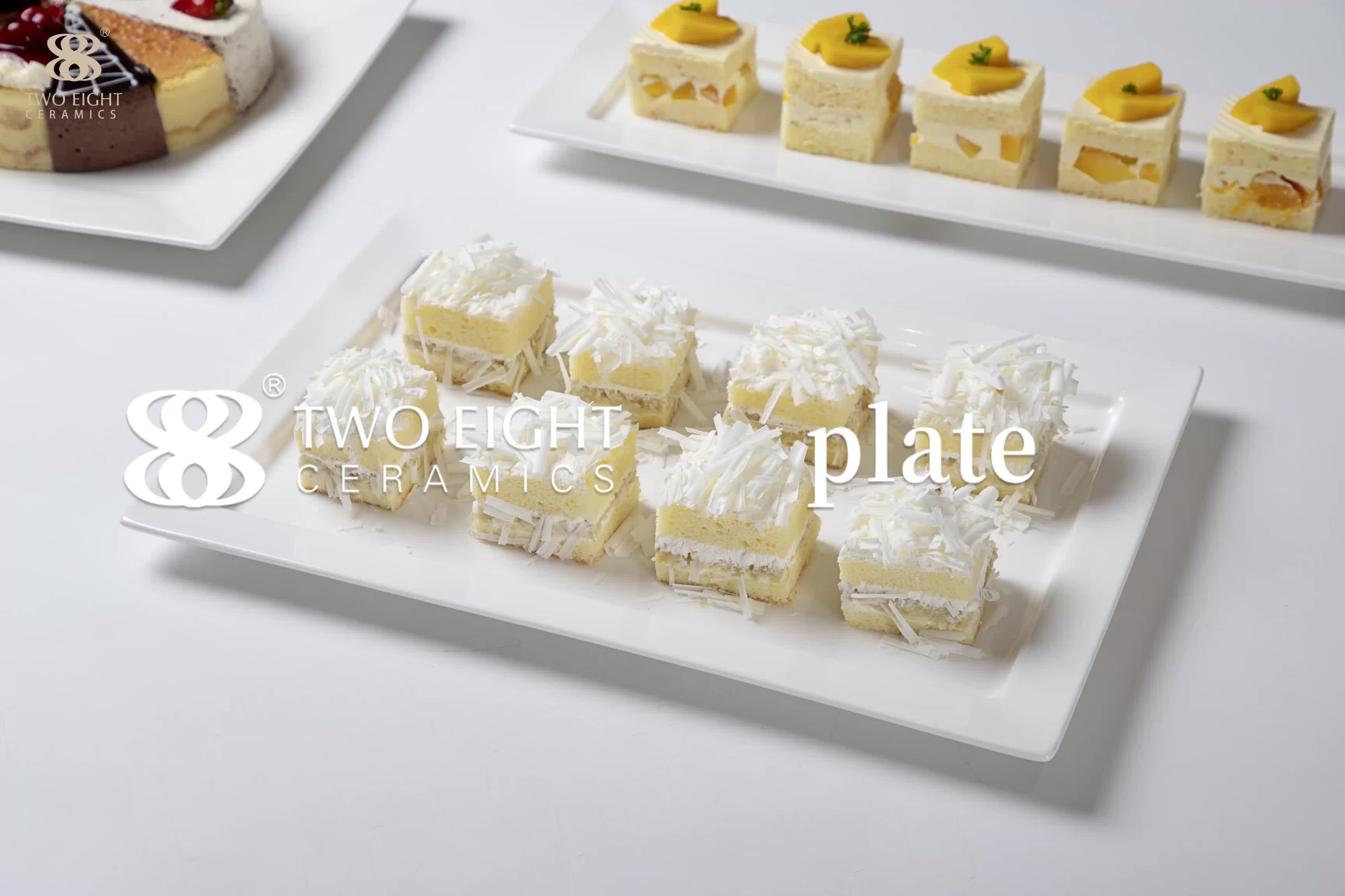 Bianco Su Misura Stampato Rotondo di Ceramica Bone China Piatti Set di Stoviglie Per La Cena Ristorante, Rettangolo Piatto di Ceramica ~