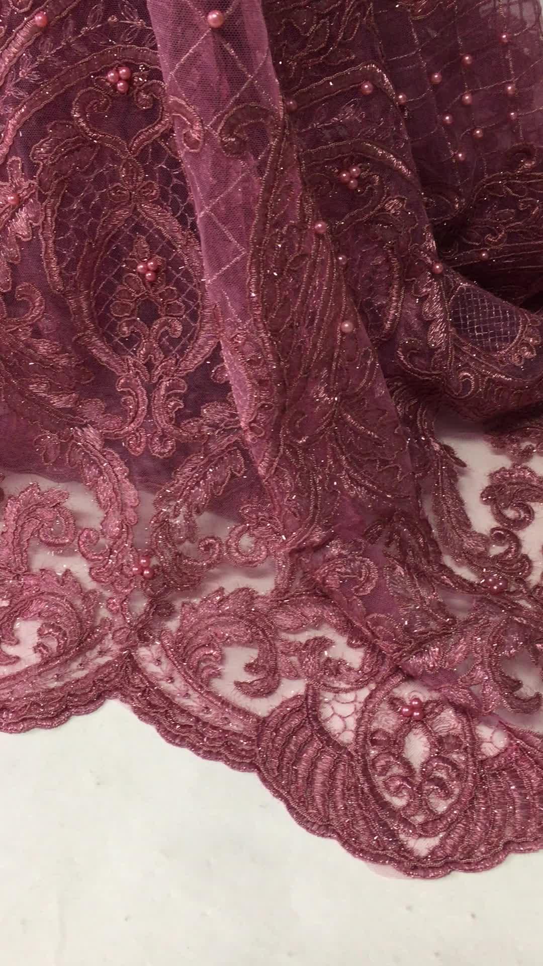 Lila pesada africana de encaje de tela/tela gasa de encaje suizo/África de encaje de algodón