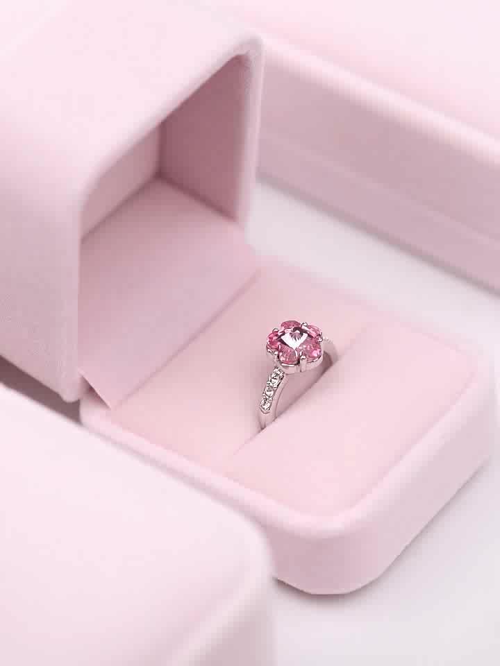 Fanxi popular logotipo impresso estoque caixa de presente de joias para brincos pulseira colar inserto personalizado macio rosa veludo anel caixa de joias
