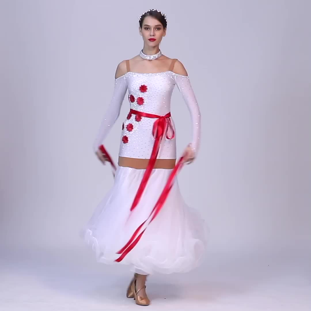 White Ballroom Dancing Competition Ladies  Standard Competition Ballroom Dance Dress  Waltz Practice Performance Wear