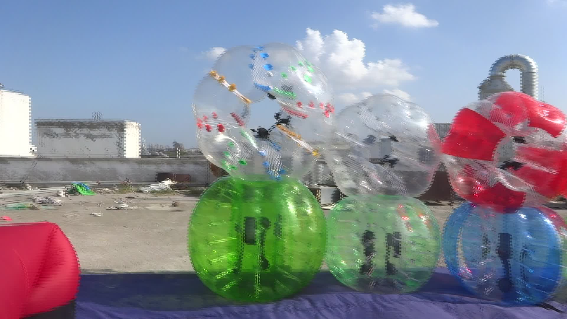 Interesting inflatable human body bubble ball with window for outdoor football game