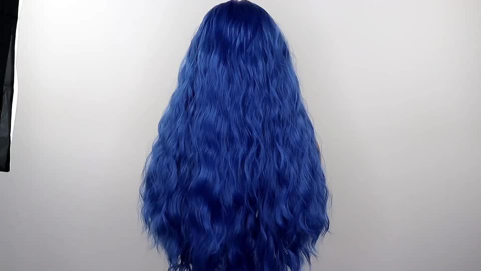 Dark Blue Loose Curly Wig High Density Wig Women Hair Curly 13x4 Lace Front Wigs