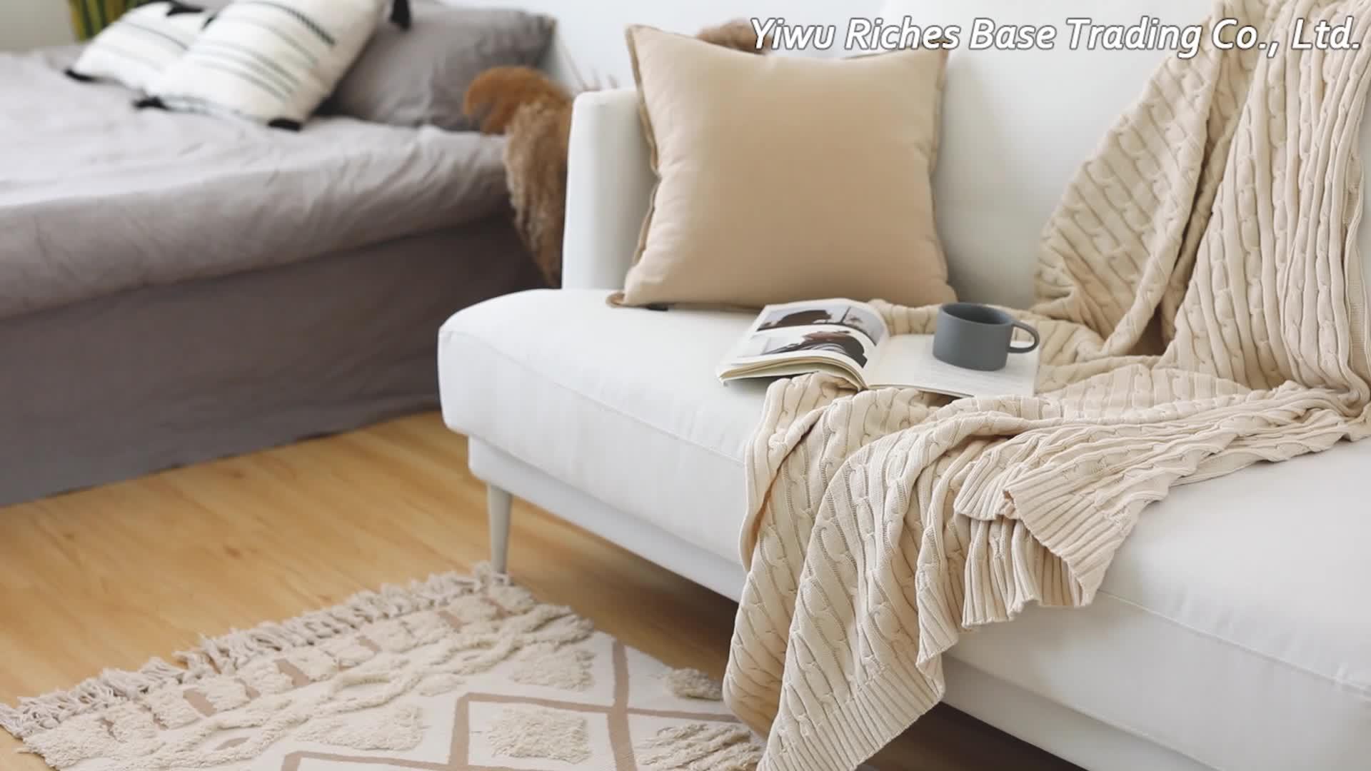 새로운 디자인 손으로 만든 면직물 걸레 카펫 맞춤 로고 모로코 카펫 거실 얽힌