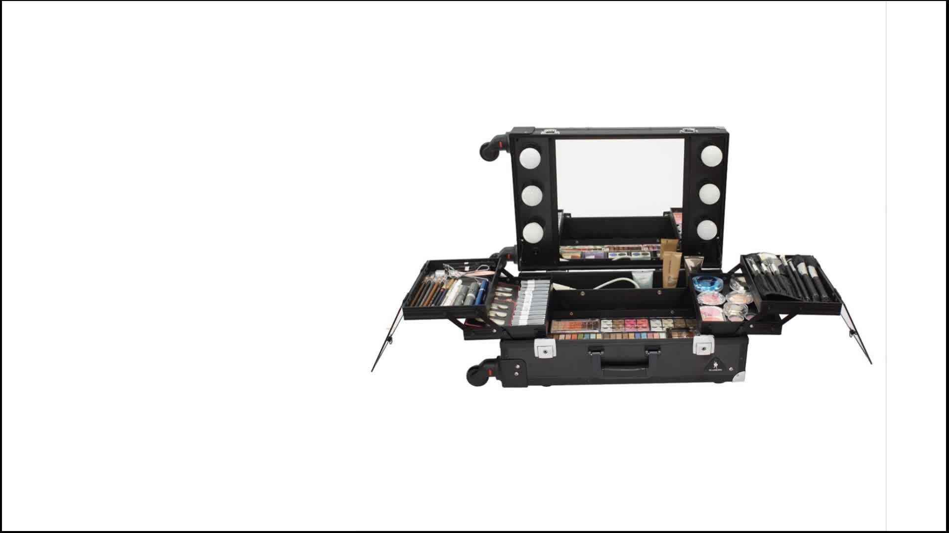 GLADKING rolling pro lighted makeup aluminum case station