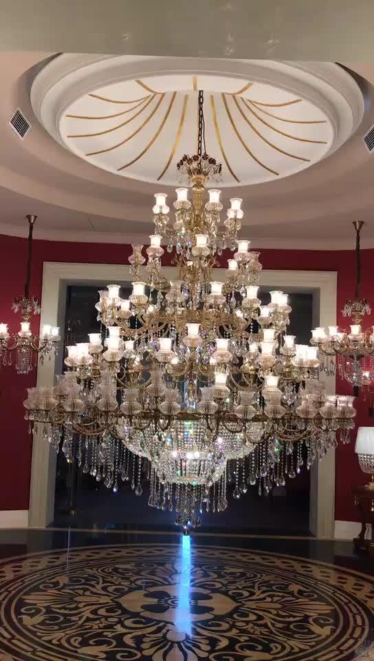 Fancy Oro Paralume di Vetro di Colore di Cristallo di Luce Tradizionale Classico Teresa Lampadario di Illuminazione Per Hotel Progetto di Villa