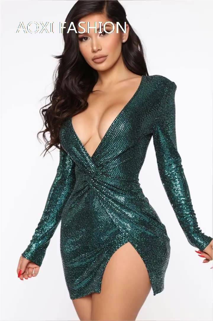 Woman clothes Sequins Mini  V neck Long sleeves  summer party summer prom dress