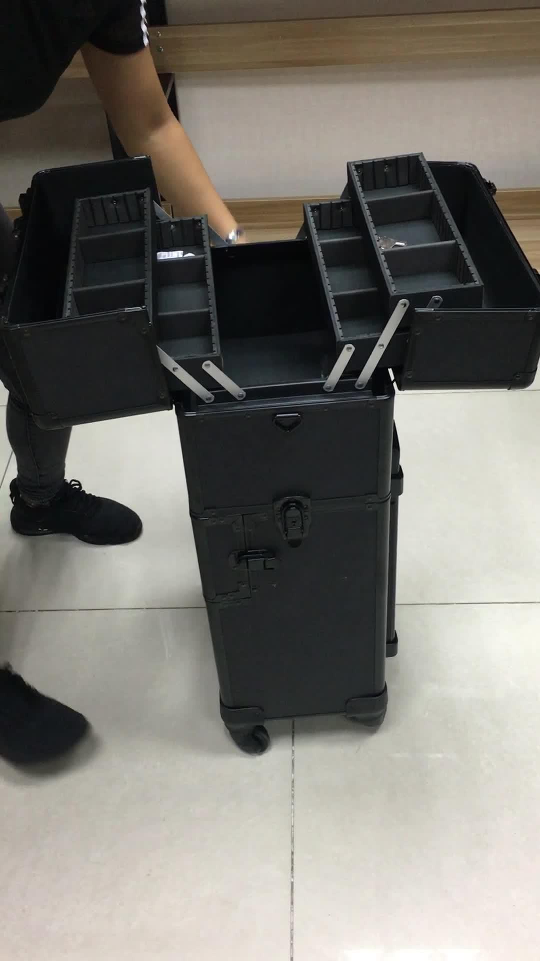 전문 핑크 알루미늄 미용 메이크업 트롤리 아름다움 상자 세면대 케이스