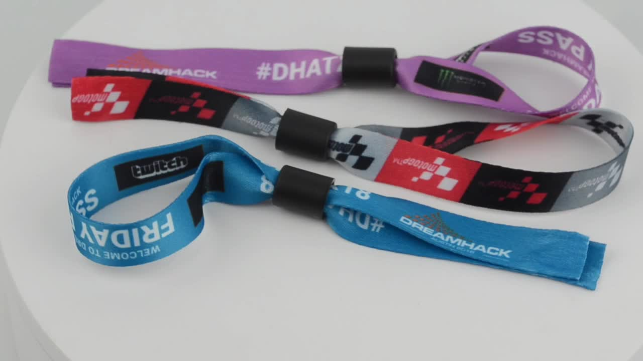 Promotion High Quality Event Sport Festival Wristbands Accessories Woven Polyester Fabric Bracelets