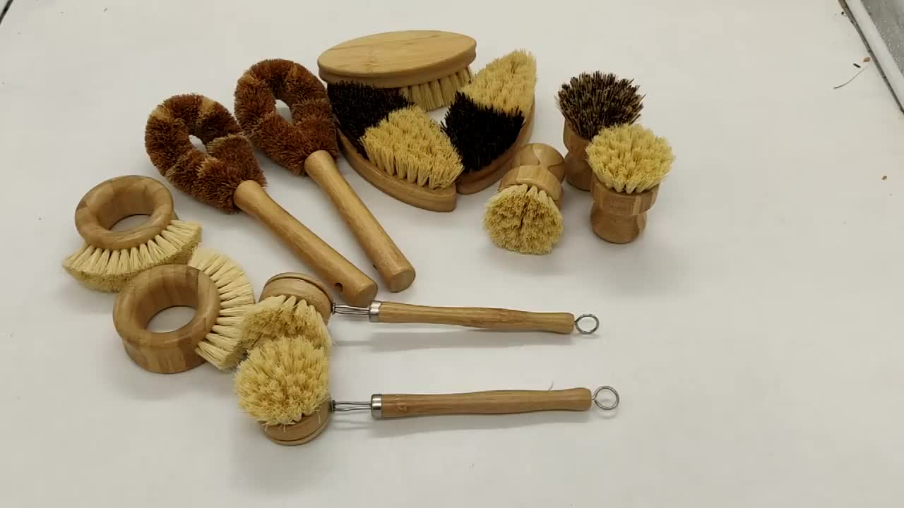 Wholesale Price Private Custom Logo 100% Natural Degradable Bristle Sisal Eco Friendly Bamboo Kitchen Cleaning Brush