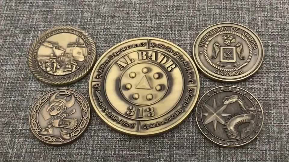 custom bulk antique brass 2Dl logo kids games coin