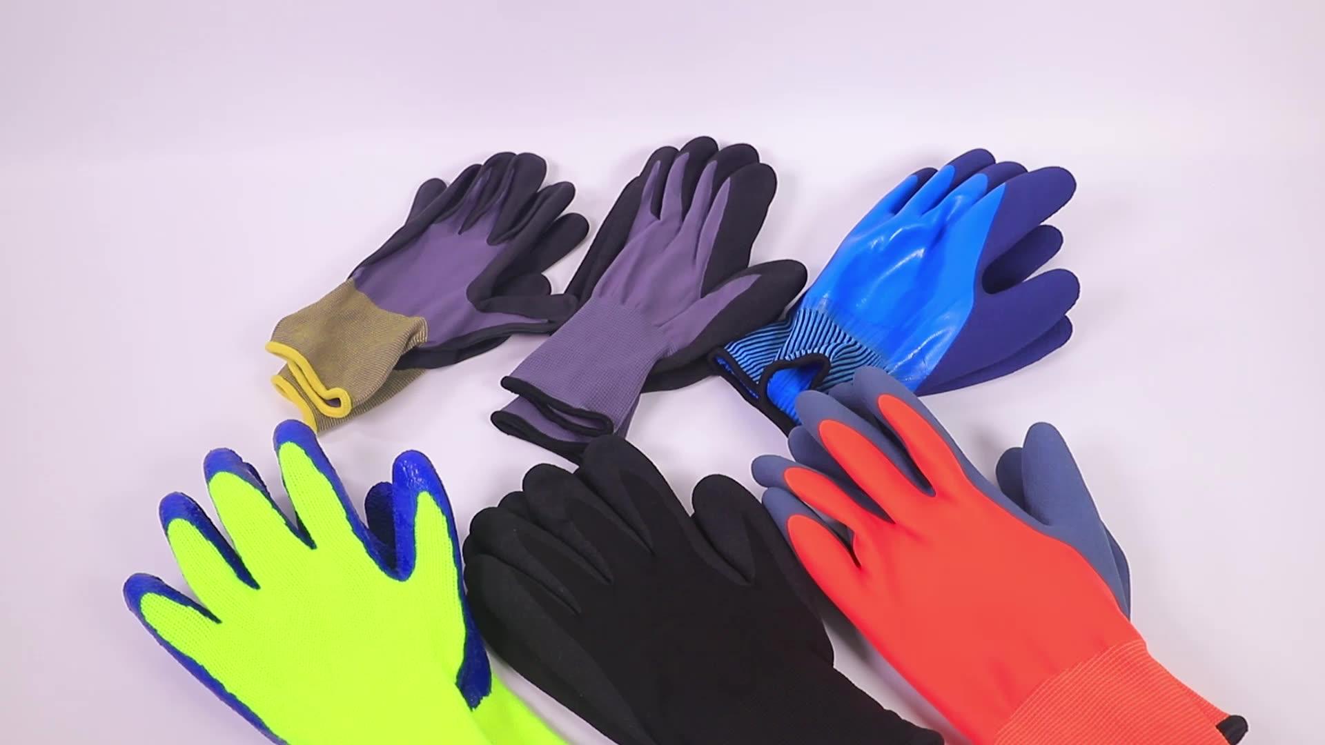 סין ספק 13G פוליאסטר גומי קמטים בטיחות כפפות יד הגנת בטיחות Glvoes