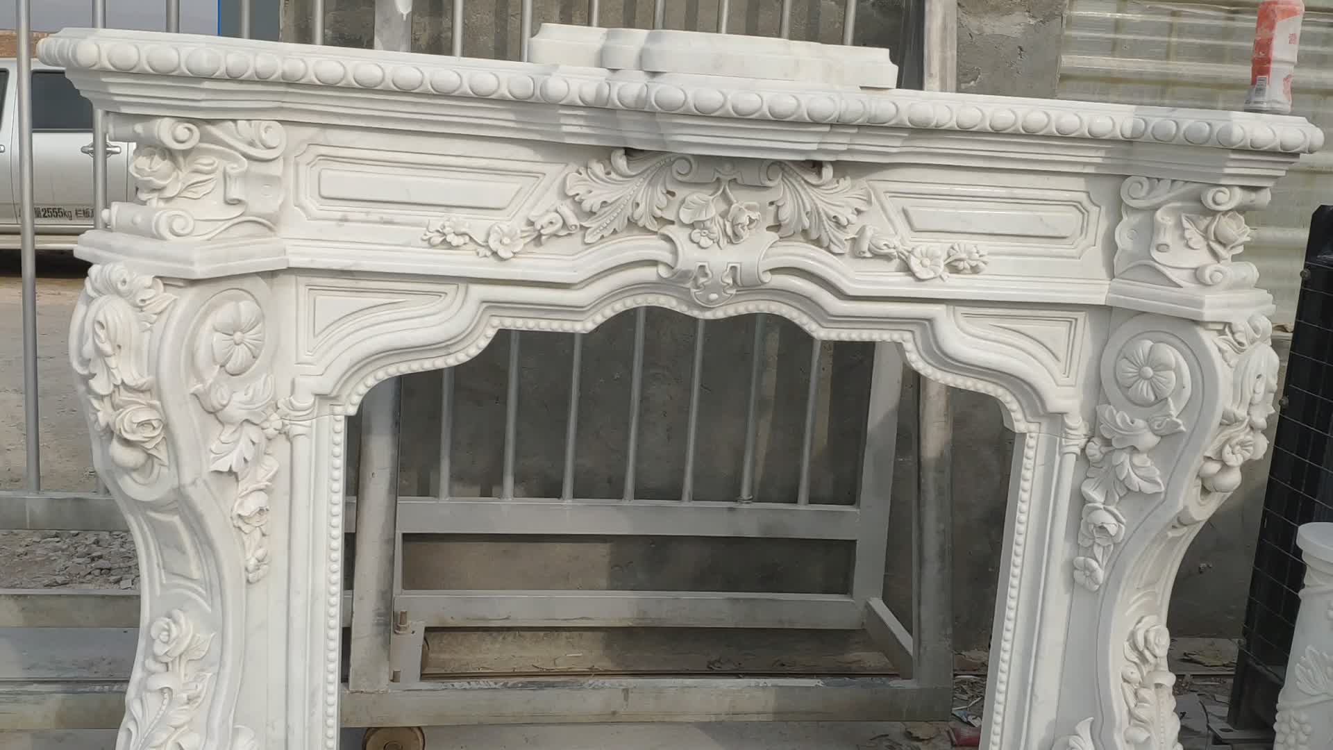 Indoor Used Cheap White Marble Fireplace Mantel For Sale