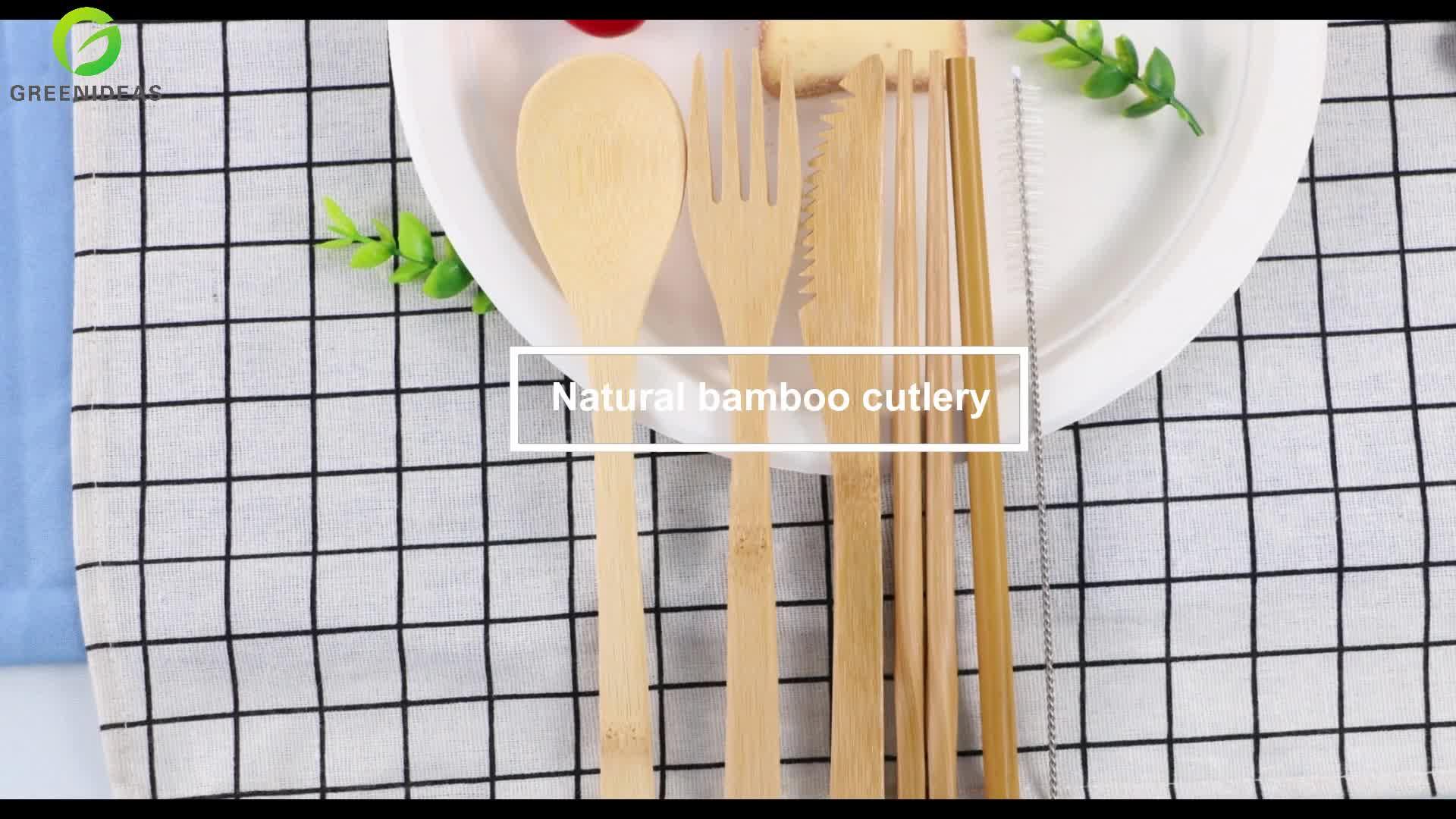Bamboo Utensils travel Cutlery Set Eco-Friendly  Wooden Outdoor Portable Utensils Zero waste bamboo cutlery set