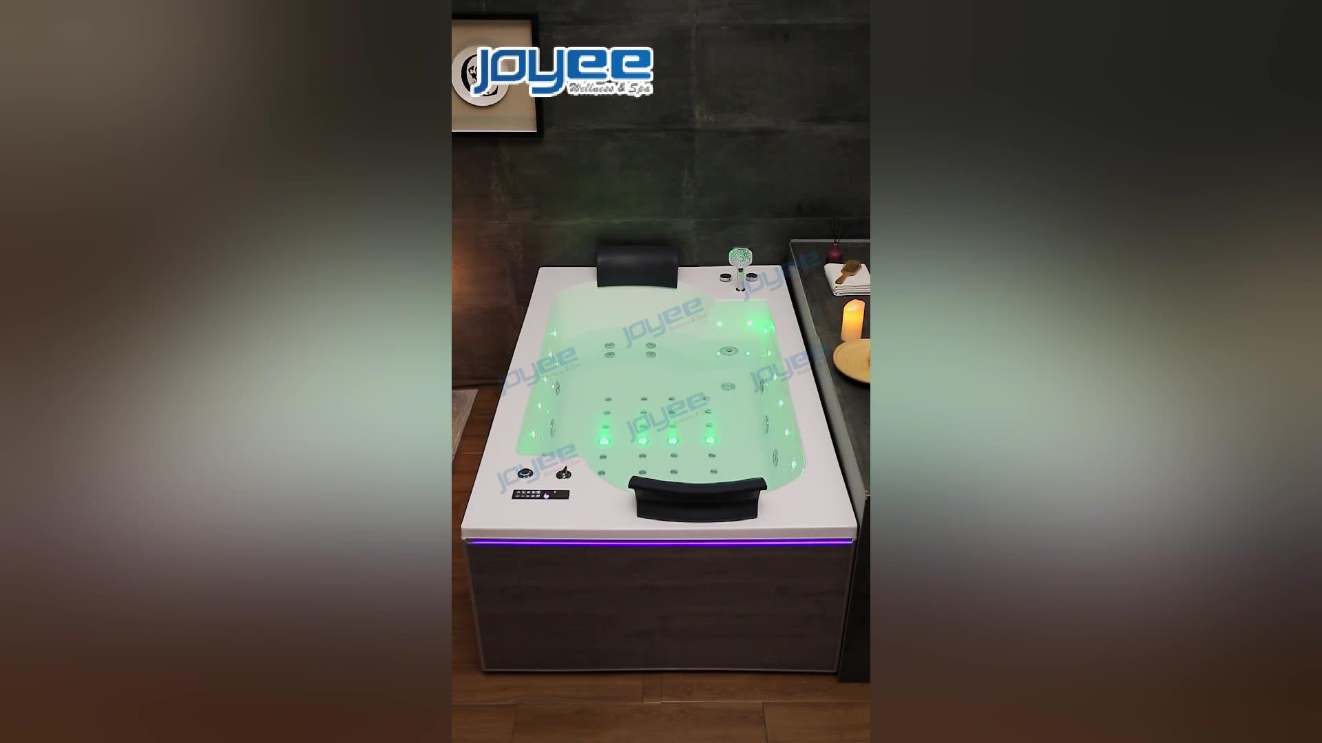 Joyee baignoire de massage Acrylique bain à remous avec du bois naturel panneau